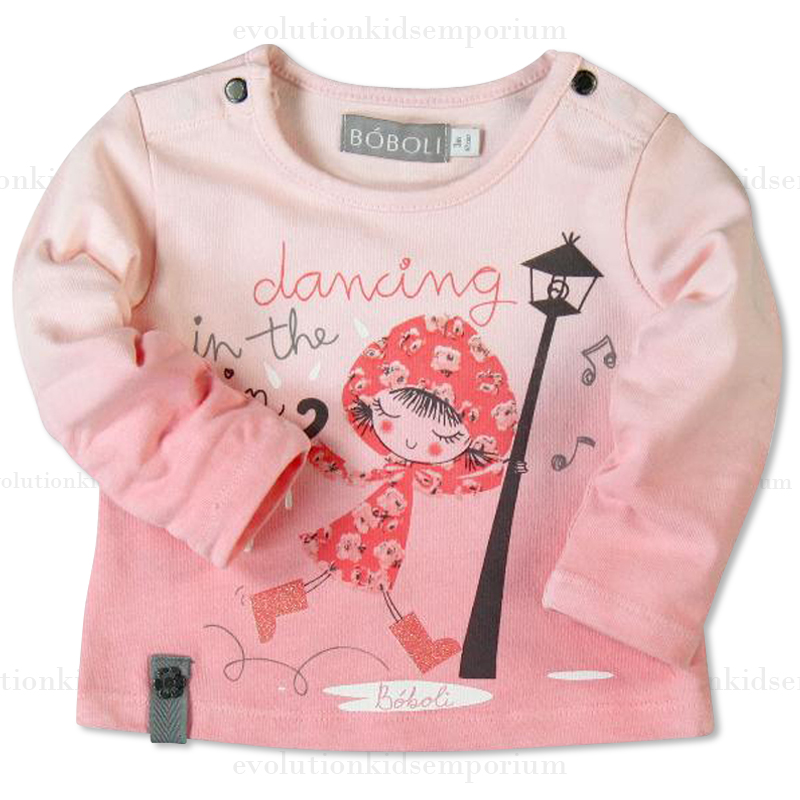 Boboli Pink Knit Dancing In The Rain Tee Evolution Kids Emporium