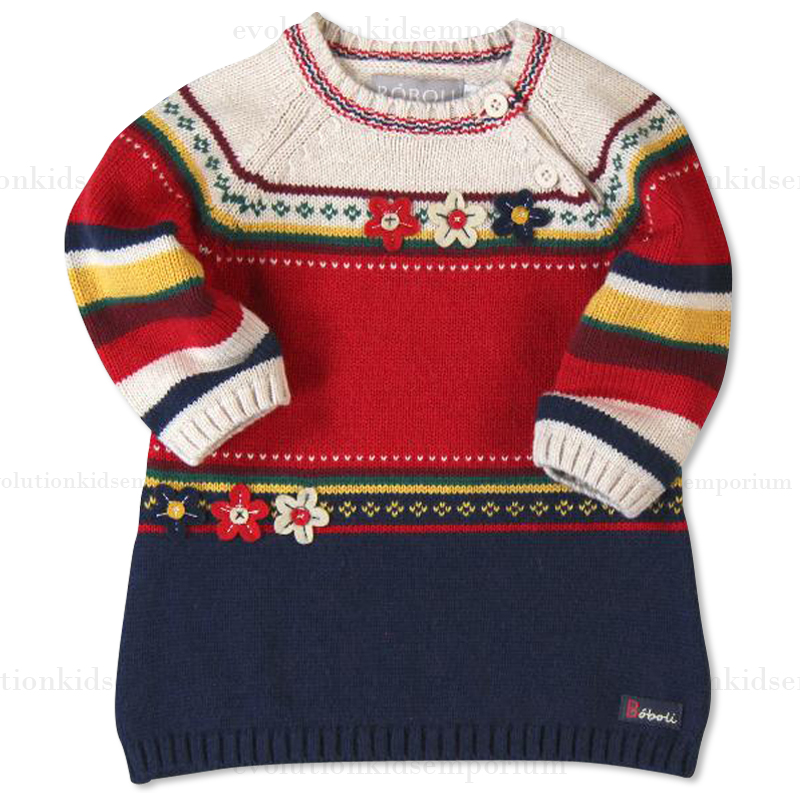 Boboli Mulit-Color Striped Knit Sweater Dress   Evolution ...