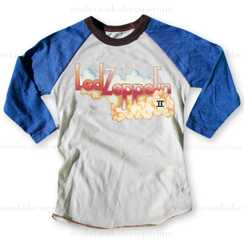 f468257e Rowdy Sprout Natural & Blue Led Zeppelin II Raglan Tee