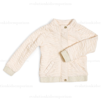 Fore!! Axel & Hudson Cream Crinkle Jacket w/Gold Metallic Elastic