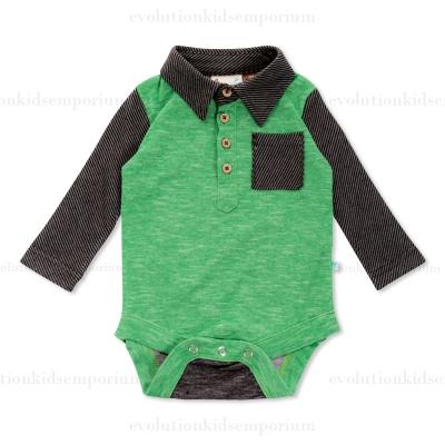 Fore Axel Amp Hudson Green Melange Stripe Knit Onesie