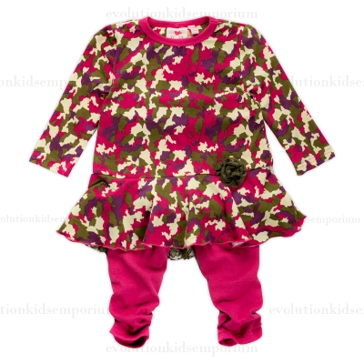 Fore N Birdie Camouflage Printed Baby Dress Set