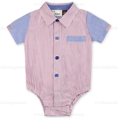 Fore!! Axel & Hudson Red & Chambray Stripe Onesie