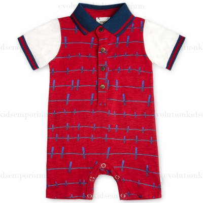Fore!! Axel & Hudson Red Clothes Pin Print Romper