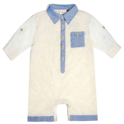 Fore!! Axel & Hudson Taupe Rolled Cuff Crinkle Stripe Romper