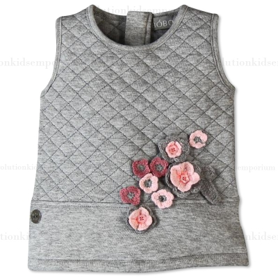 Boboli Grey Quilted Pinafore Dress
