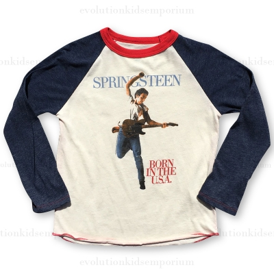 Rowdy Sprout Cream, Blue & Red Bruce Springsteen Raglan Tee