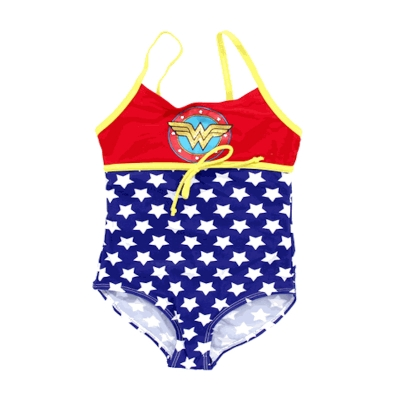 DC Comics Toddler Girls Red, White, Blue & Yellow Wonder Shield One Piece Swimsuit