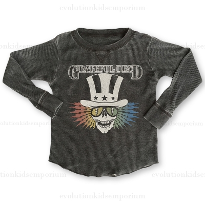 Rowdy Sprout Off Black Grateful Dead Thermal Burnout Tee