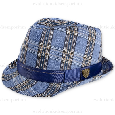 Fore!! Axel & Hudson Navy Linen Plaid Fedora