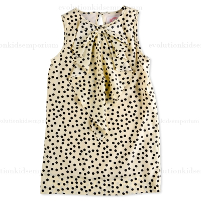Appaman Ivory Cascading Bow Dress w/Dots