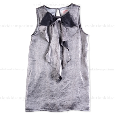 Appaman Metallic Silver Cascading Bow Dress