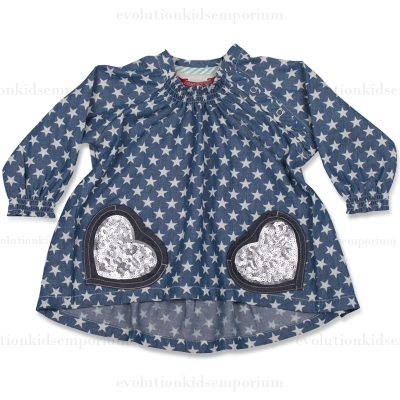 Little Wings Stars & Sequins Raglan Smock Top