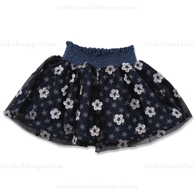 Little Wings Embroidered Flowers Tulle Skirt