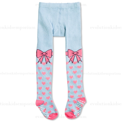 Little Wings Light Blue w/Pink Hearts & Bows Tights