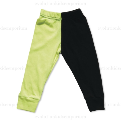 Nununu Black & Neon Yellow Half & Half Leggings