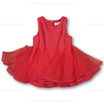 Doe a Dear Red Tulle Placket Dress