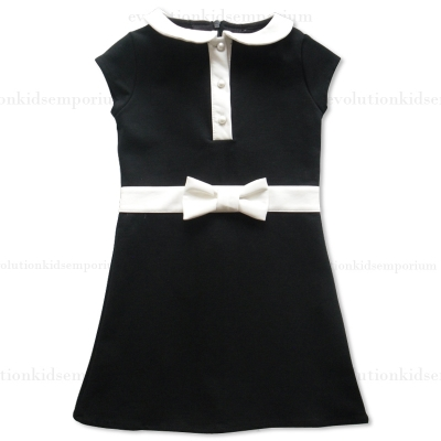 Sierra Julian Black Isorella Dress w/White Leather Collar & Bow