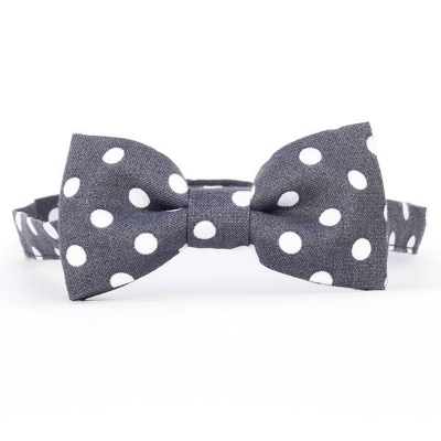 Urban Sunday Dark Grey Polka Dot Bow Tie