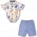 Fore!! Axel & Hudson Grey Tropical Print Onesie & Chambray Shorts Set