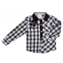 Fore!! Axel & Hudson Navy Plaid/Cord Shirt w/Fore Flocking