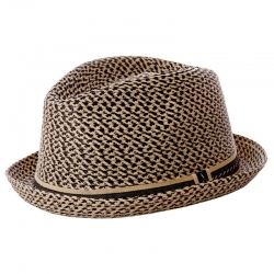Fore!! Axel & Hudson Black & Natural Paper Braid Fedora