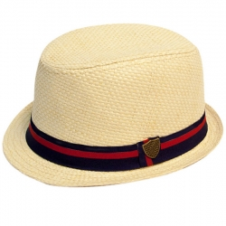 Fore!! Axel & Hudson Paper Straw Fedora w/Contrast Band