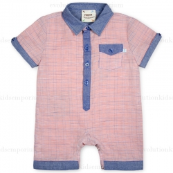Fore!! Axel & Hudson Salmon & Chambray Linen Plaid Romper