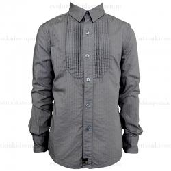 La Miniatura Cement Herringbone Tuxedo Shirt