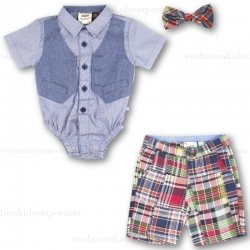 Fore!! Axel & Hudson Faux Vest, Madras Shorts & Snap Bow Tie Set