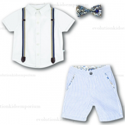 Fore!! Axel & Hudson White Shirt, Blue Seersucker Shorts & Snap Bow Tie Set