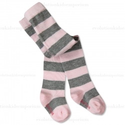 Boboli Pink & Grey Striped Tights