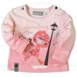 Boboli Pink Knit Dancing In The Rain Tee