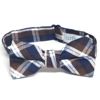 Urban Sunday Portland Navy, Brown & White Plaid Bow Tie