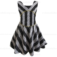 La Miniatura Girls Black/White Striped Zipped Dress