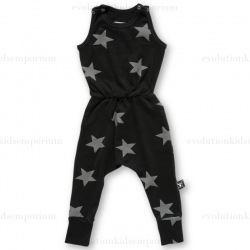 NUNUNU Black New Star Sleeveless Romper