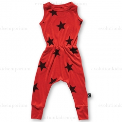 NUNUNU Red Flame New Star Sleeveless Romper