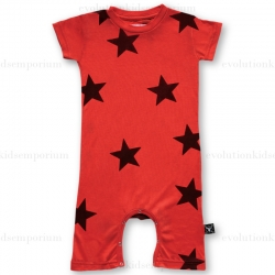 NUNUNU Red Flame Star Playsuit