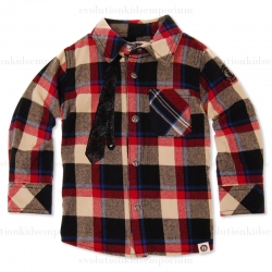 Mini Shatsu Neck Tie Plaid Long Sleeve Shirt