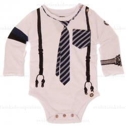 Mini Shatsu Tie & Suspender Long Sleeve Onesie