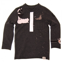 Mini Shatsu Big Bad Wolf Huff & Puff Hay Henley Tee