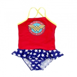 DC Comics Toddler Girls Red, White, Blue & Yellow Wonder Shield One Piece Skirted Swimsuit