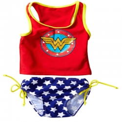 DC Comics Toddler Girls Red, White, Blue & Yellow Wonder Shield Tankini Swimsuit