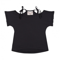 Paper Wings Charcoal Frilled Tee