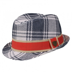 Fore!! Axel & Hudson Navy & Cream Plaid Paper Straw Fedora