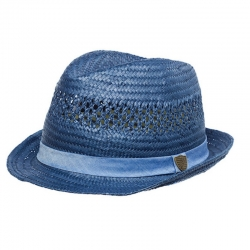 Axel   Hudson Cobalt Blue Paper Straw Crochet Fedora 65f2db40a58