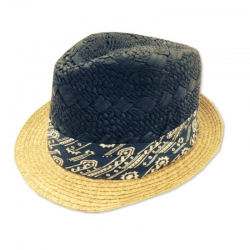 Fore!! Axel & Hudson Mix Navy & Tan Straw Fedora