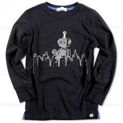 Appaman Black Appabot Long Sleeve Tee