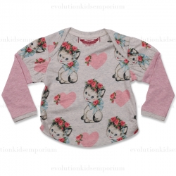 Little Wings Hearts and Kittens Puff Sleeve Tee