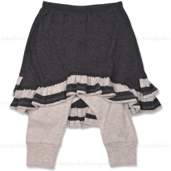 Little Wings Charcoal/Grey Dyed Stripe Leggings w/Skirt